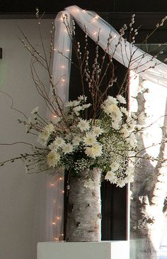 Winter rustic reception wedding flowers,  wedding decor, wedding flower centerpiece, wedding flower arrangement, add pic source on comment and we will update it. www.myfloweraffair.com can create this beautiful wedding flower look.