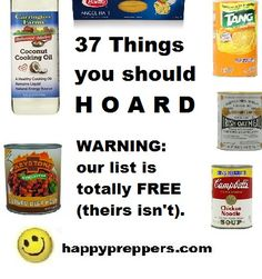 You've seen the video with the cute drawings warning all patriots about what FOODS TO HOARD. Instead of buying an eBook, get the information for free from happypreppers.com (You're welcome!)