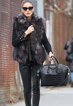 Olivia Palermo street style, fur jacket