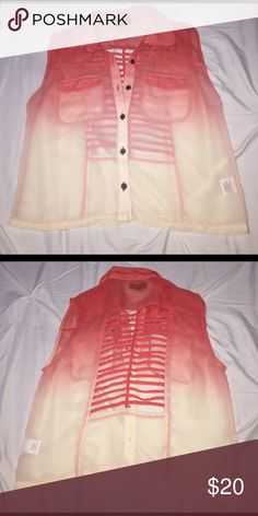 Ombré white & orange see through top with buttons Ombré white & orange see through top with buttons and pockets on both sides. Nice detail on the back. Cute for the beach! In great condition, open to all reasonable offers 💕 Material Girl Tops