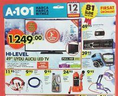 A101 12 Ocak 2017 Perşembe Fırsat Kataloğu İncelemesinde sizlerleyiz. A101 fırsat broşüründe yine ihtiyacınız olan ürünler ayağınıza kadar geliyor. Birbiri den cazip fiyatlı ürün kataloğunda bakalım hangi ürünler var. Hemen incelemeye başlıyoruz. 12 Ocak tarihinde geçerli olacak olan A101 Market Kataloğunda öne çıkan ürünlerin başında HI-LEVEL 49'' Uydu Alıcılı Led Tv 1,249,00 TL ye, Katlanabilir Yaylı Yatak 109,00 TL ye ürünleri yer alıyor. WORLD veya BONUS kartları ile taksit imkanı...