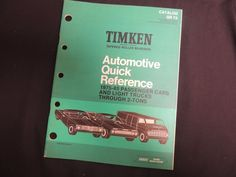 1975-65 Timken Tapered Roller Bearings Quick Reference Car Light Truck #Champion