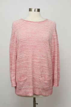 Chaps Pink Marled Cotton Linen Two Front Pockets Crewneck Sweater Size XL #Chaps #Crewneck