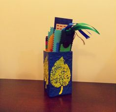 Blue Paper Mache Leaf Print Pen Stand! It can be made with any colour combination!