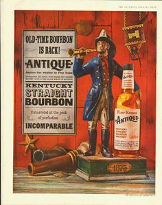 Four Roses Antique Bourbon ad from 1959. You gotta love this Firefighter.