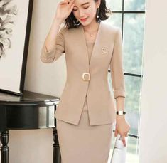 Formal Spring Summer Fashion Blazers Suits With Two Piece Jackets And Dress Office Ladies Business Work Wear Uniforms Sets - Lady Style Blazer Fashion, Suit Fashion, Work Fashion, Fashion Outfits, Fashion Design, Ladies Fashion, Womens Fashion, Dress Fashion, Fashion Ideas
