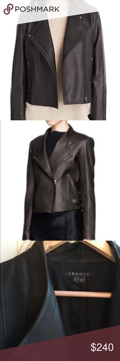 Theory Phelan Leather Motorcycle Jacket Beautiful dark brown lamb skin leather jacket, super soft. This is a re-posh, jacket is gorgeous but unfortunately too big on me 😣 Theory Jackets & Coats