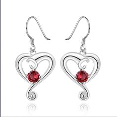 03f54e06d Fashion Red Cubic Zirconia Heart Anting Drop Earrings Trendy Piercing Women  Jewelry Romantic Colar Wanita Cantik Bijou Lover-in Drop Earrings from  Jewelry ...