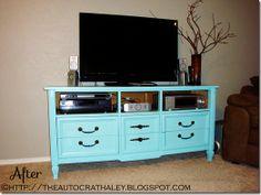The Autocrat: Turquoise Dresser Re-do    http://theautocrathaley.blogspot.com/2012/06/turquoise-dresser-re-do.html