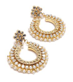 #White & Golden #Kundan Embellished #Dangler #Earrings