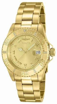 5b7593da0ac1 Invicta Mujer Reloj Oro Gold Crystal Pulsera Bracelet Woman Watch Diamond  Hand  Invicta  Luxury