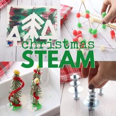 Fun STEM and STEAM Christmas activities for kids. Tinkering trees, tape resist painted forests, Christmas tree oobleck, and gumdrop Christmas trees.
