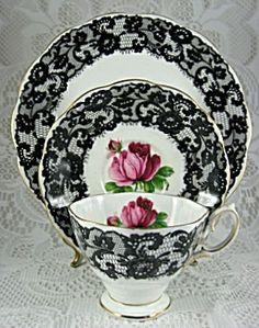 Porcelain breakfast/tea set in Seniorita Black Lace pattern by Royal Albert, England