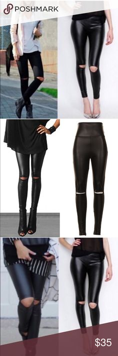 MCKINNLEY cut out slick leggings - BLACK Super chic & on trend cut out knee leather pants.   92% poly 8% spandex.   NO TRADE, PRICE FIRM Bellanblue Pants Leggings