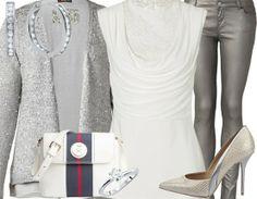 Silbernes Partyoutfit mit Glitzercardigan und Pumps ♥ Hier kaufen: http://stylefru.it/s26894 #Pailletten #Glitzer #silber