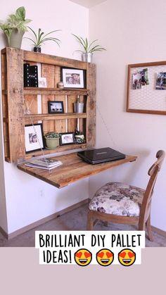 Pallet Desk, Diy Pallet Furniture, Diy Pallet Projects, New Furniture, Furniture Design, Furniture Ideas, Wood Projects, Wood Desk, Furniture Storage