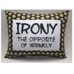 Funny Cross Stitch Pillow Cross Stitch Quote Black by NeedleNosey, $20.00