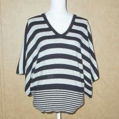 """BCBG Max Azria Dolman Sleeve Striped Sweater Top Size M   Soft Lite weight   Pullover  15% Angora  30% Wool  55% Nylon  Aprox. Measurements Taken Flat  • Bust: 26""""  • Length: 28""""  $18.00 Free Shippping USA         To View More Pictures of This Item   Follow Me On FaceBook https://www.facebook.com/Sandragscloset/"""
