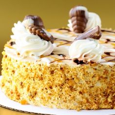 A Sweet and yummy recipe for caramel toffee cheesecake. garnished with whipped cream and chocolates.. Toffee Caramel Cheesecake Recipe from Grandmothers Kitchen.