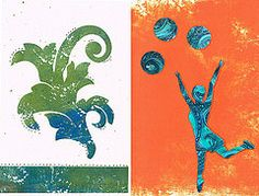 Art cards made from Gelli© prints.