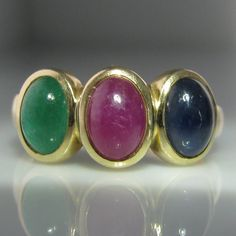 Sapphire, Emerald and Ruby Cabochon Ring Vintage Diamond, Vintage Rings, 3 Stone Rings, Galway Ireland, Emerald Jewelry, Gemstone Colors, Sapphire, Engagement Jewelry, Antiques
