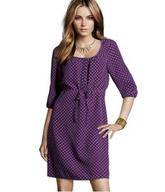 Dress $29.95   Straight, knee-length dress with 3/4-length sleeves, buttons at top, front tie, and elastication at back of waist.