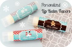 Personalized Christmas Holiday Lip Balm Favors - Send off your party guests with a big kiss - or at least the next best thing.  These personalized Christmas holiday lip balm favors are all natural and infused with organic oils and shea butter.  Each lip balm is packaged in a clear glossy tube for a high end spa look.