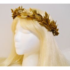 Gold Leaf Crown for a Greek, Roman Goddess, Laurel Wreath Golden... ($45) ❤ liked on Polyvore featuring accessories, hair accessories, gold crown, golden crown, gold leaf crown, vintage crown and crown hair accessories