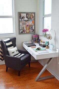 STEP INTO MY HOME OFFICE: This small space is where all the action happens on a daily basis from planning my client's home renovations to CAD renderings of room designs and blogging about my favorite topics. Here are 5 of my top must-haves for a beautiful yet productive office space: 1) large desk, 2) comfy chair, 3) Inspiration Board, 4) organization, 5) natural light! (Sponsored Pin)