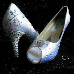 Wedding Shoes snowflakes crystals White winter best by norakaren, $250.00
