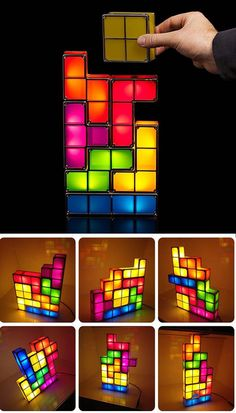 even-piece interlocking light fixture for fans of Tetris.  What a wonderful idea! Tetris piece shaped lamps that you can stack. Of course, you're going to have to be sure to stack them non-optimally. Led Lamp, Lamps, Desktop Lamp, Led Diy, Night Light, Light Fixtures, Cube, Shapes, Lights