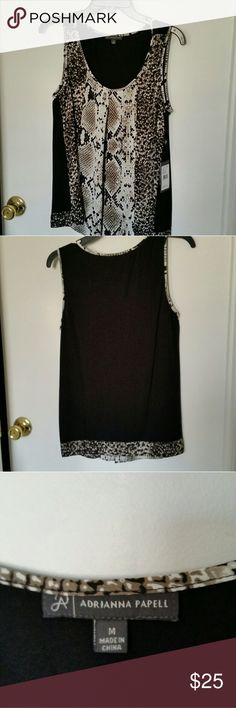 Adrianna Papell top New with tag. Black/ivory. Size medium. 100% polyester. Adrianna Papell Tops