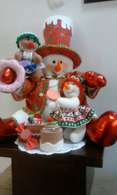 FELT MOULD CRAFTS IN GENERAL: -CRÉDITOS SNOWMAN IN PHOTO