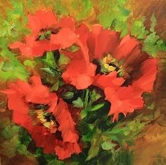 Heaven Scent Red Poppies by Texas Flower Artist Nancy Medina, painting by artist Nancy Medina