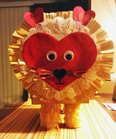 Lion Valentine Mailbox.  Super easy and doesn't take long to make.  Kids love it.
