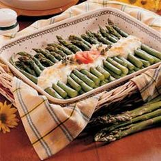 Asparagus with White Sauce...had this a couple weekends ago and its DELICIOUS! Serve the sauce over noodles, with some grilled chicken and its a homerun meal!!