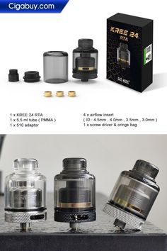 Gas Mods Kree 24 RTA is the latest version of Gas Mods Kree RTA. Gas Mods Kree 24 features 4 different replaceable airflow control accessories to provide vapers plentiful vaping.