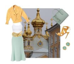 """""""From Russia with Love, colors of Peterhof - a perfect inspiration for Spring"""" by sharee64 ❤ liked on Polyvore featuring DKNY, Dressbarn, Monica Vinader, Eastex, Topshop, Chanel and Charlotte Russe"""