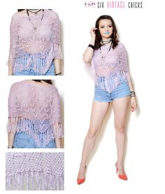 crochet cape women fringe jacket crochet poncho purple top sexy tops hippie blouse bohemian sequin top see through blouse crochet shawl M by SixVintageChicks on Etsy