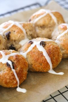 Easy Hot Cross Buns using this easy dough from my Bagel Recipe. No yeast, no boiling, no fancy mixer. Bake them in the oven or in the air-fryer!