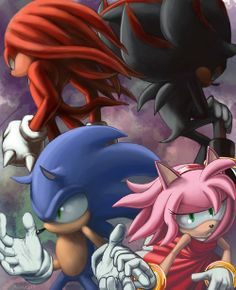 This is actually my top 4 favorite sonic characters. They go from left to right. Knuckles, 2. Shadow, 3. Sonic, 4.Amy