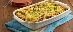 Egg noodle casserole recipe with seasoned ground beef, Southwest vegetables, tomatoes and cheese