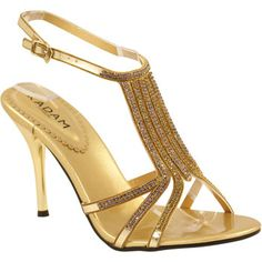 For the bridesmaids. Strappy Gold Wedding Shoes