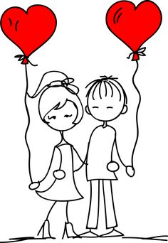 Cute Couple Drawings, Cute Drawings, Love You Images, Love Doodles, Illustration Vector, Jolie Photo, Stick Figures, Doodle Drawings, Line Drawing