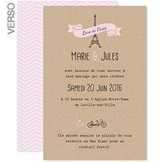 Love in Paris : un faire-part tendance pour des amoureux romantiques à créer sur Carteland #mariage #fairepart