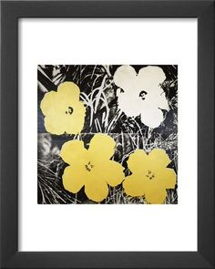 Amazon.com: Professionally Framed Andy Warhol Flowers Yellow and White 1966 Art Print Poster - 11x14 with Solid Black Wood Frame: Home & Kitchen