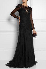 Dolce & GabbanaLace-appliquéd georgette gown