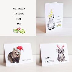 Gorgeous pack of three Australiana themed Christmas cards of our original watercolour animal illustrations, with Christmas Accessories.WOMBYCHEEKY COCKYKHRISTMAS KOALA folded size -...