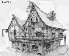 """HD Wallpaper and background photos of Fable 2 concept art """"Inn"""" for fans of Fable images. Environment Concept Art, Environment Design, Fantasy House, Fantasy Art, Casa Estilo Tudor, Dcc Rpg, Art Sketches, Art Drawings, Fable 2"""