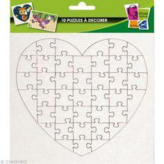 Puzzle de cartón blanco para decorar Corazón 40 piezas x 10 - Fotografía n°1